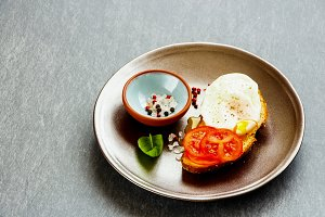 Bruschetta with poached egg
