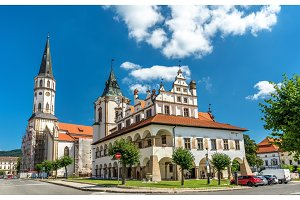 Old Town Hall and St. James church in Levoca, Slovakia