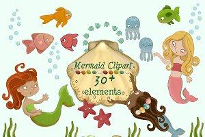 Cute Mermaids Clipart