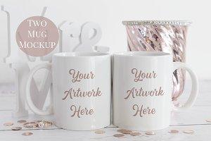 Double Mug Mockup -Rose gold wedding
