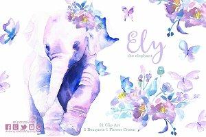 Ely elephant butterflies clip art
