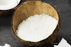 Half of ripe coconut