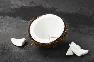 Half of ripe coconut