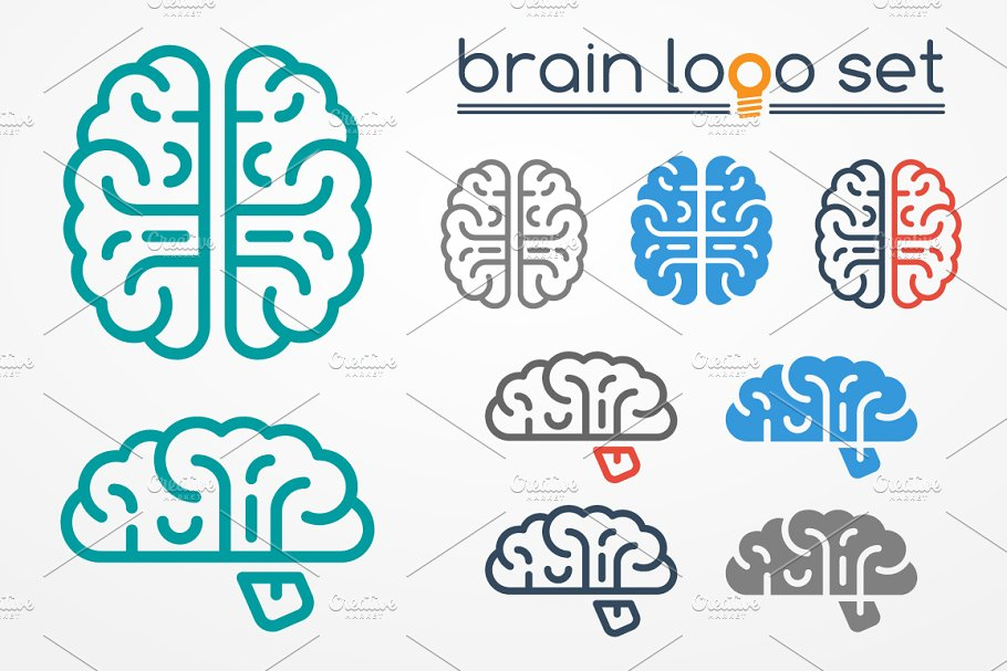 Brain logo set