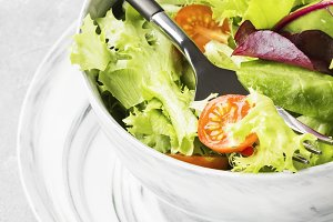 The dietary mixed greens salad (mesc