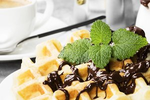 Waffles with chocolate and mint