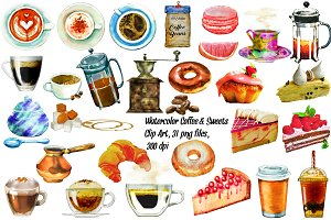 Watercolor Coffee & Sweets ClipArt