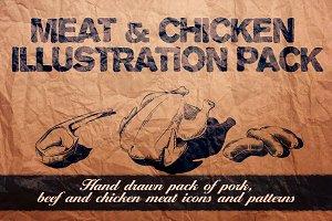 Meat & chicken illustration pack