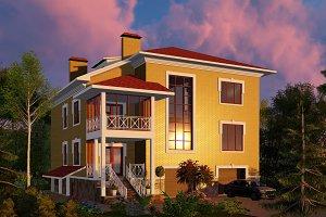 3D visualization. Mansion at sunset.