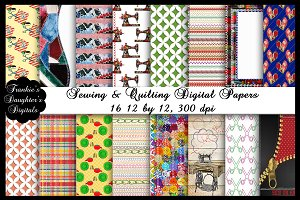 Sewing & Quilting Digital Papers