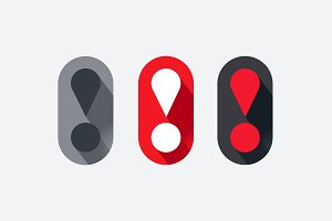 Exclamation Mark Vector Icon Set