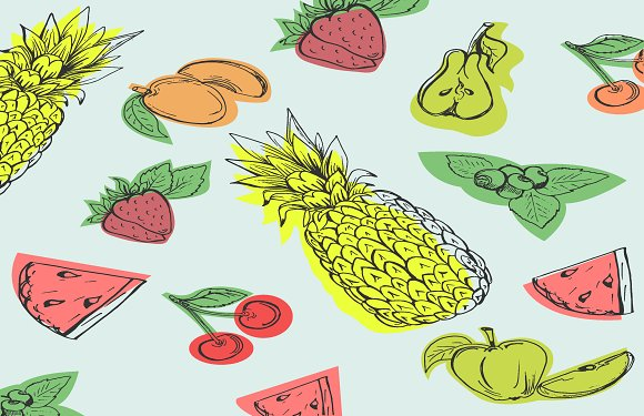 Fruits In Sketch Style Hand Drawn