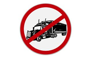 No semi trucks allowed sign.