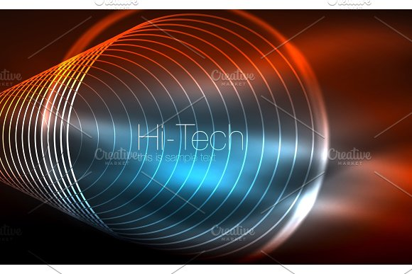 Circular Glowing Neon Shapes Techno Background Abstract Shiny Transparent Circles On Dark Technology Space