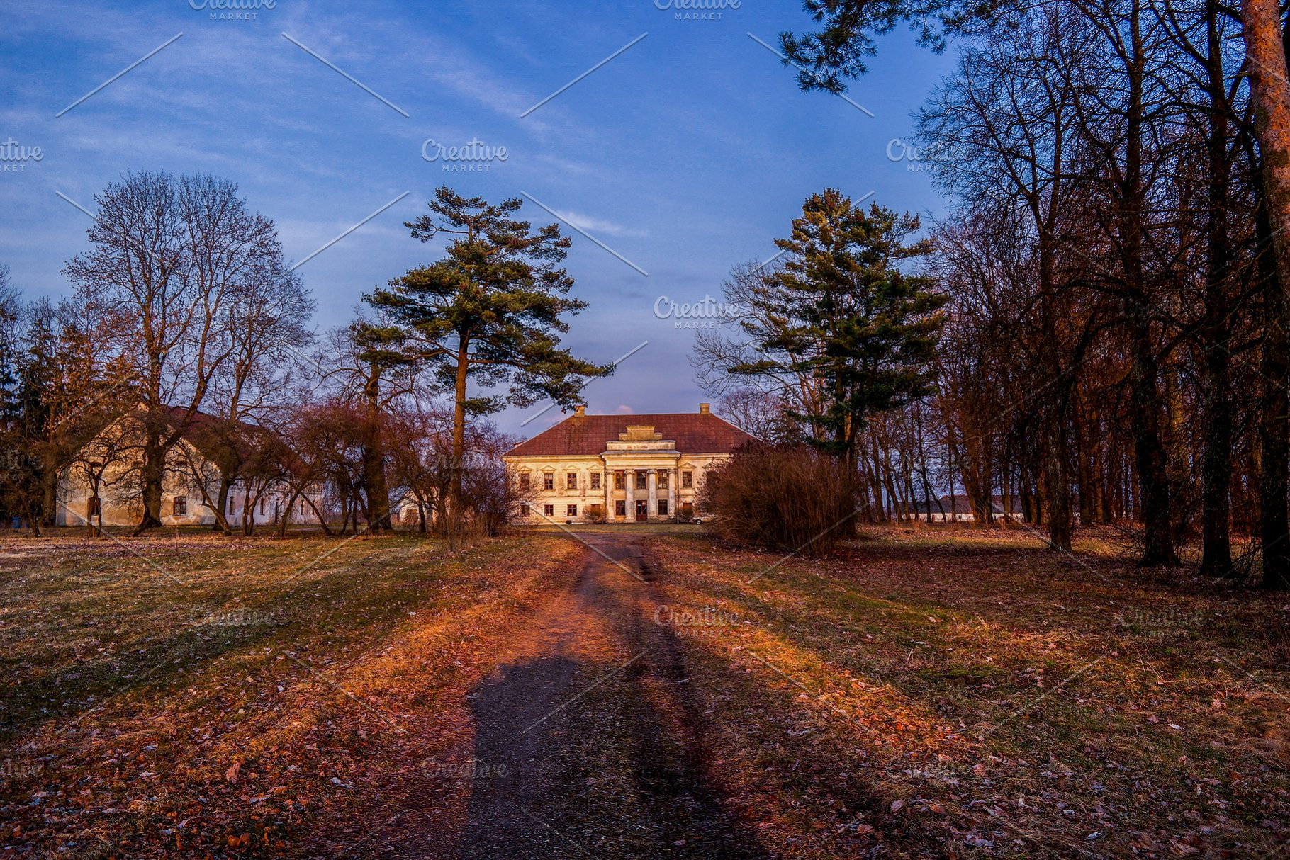 Old abandoned mansion during the evening