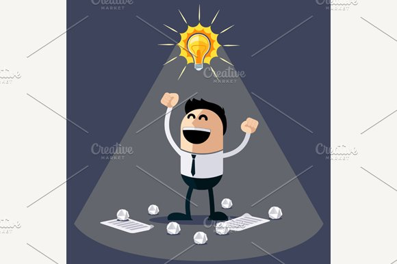 Businessman with Ideas. Happy Funny