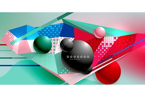 Abstract geometric poster created with polygonal triangle elements, lines, spheres, material textures, holographic elements