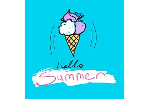Tasty ice-cream with text Hello Summer. Vector colorful food illustration and lettering on a blue backround.
