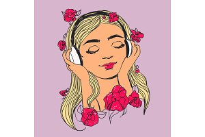 Beautiful woman with headphones and flowers. Vector colorful music lover illustration.