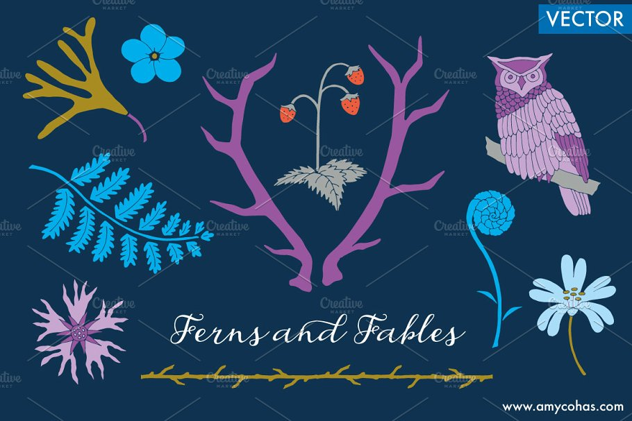 Ferns and Fables: Vector Art