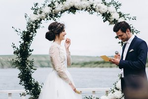 Bride and groom swear their oaths