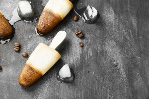 Coffee ice cream popsicles