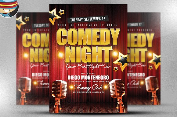 comedy night flyer template flyer templates on creative. Black Bedroom Furniture Sets. Home Design Ideas