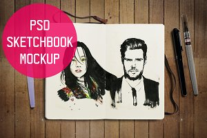 Sketchbook Journal PSD Mockup
