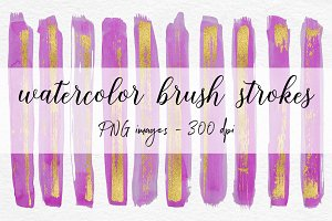 Stroke Brushes - Watercolor & Gold