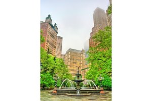 Fountain in City Hall Park - Manhattan, New York City