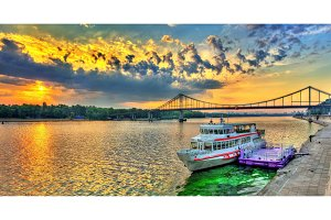Sunrise over the Dnieper river in Kiev, Ukraine