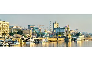 Skyline of Kiev at the Dnieper river in Ukraine