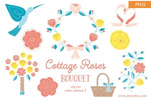 Cottage Roses Bouquet 2: Clip Art
