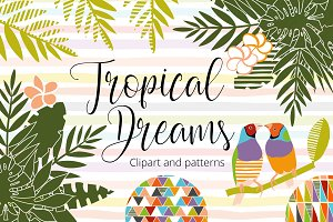 Tropical dreams.Clipart and patterns