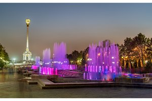 Fountains and Independence Monument in Dushanbe, the Capital of Tajikistan