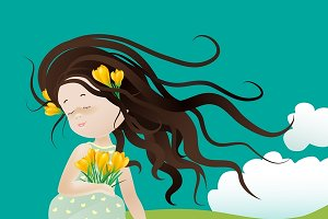 Girl with flower ssitting on grass