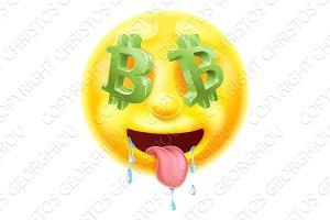 Bitcoin Sign Eyes Emoticon Emoji