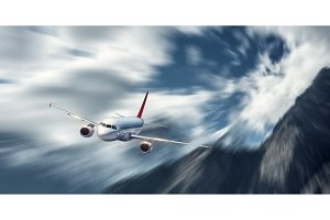 Passenger aircraft in motion. Modern airplane mith motion blur e