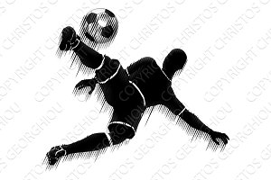 Soccer Player Football Sports Silhouette Concept