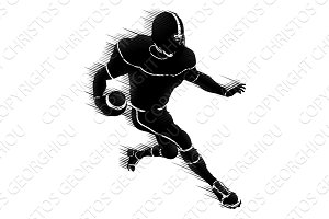 American Football Player Silhouette Concept