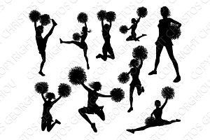 Cheerleader Pom Poms Silhouettes