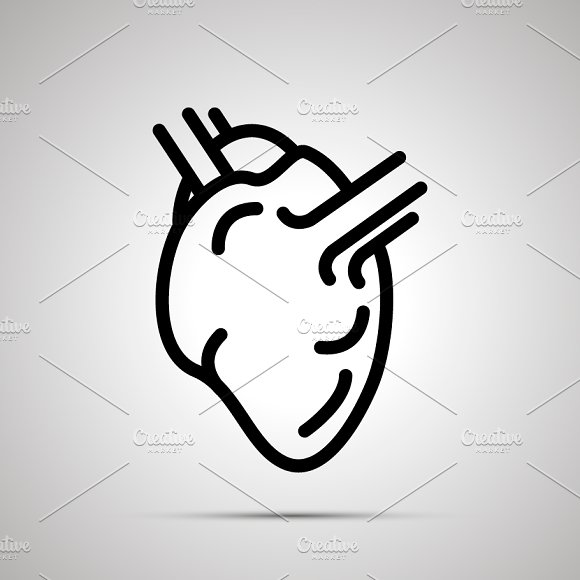 Simple Black Human Heart Icon