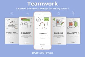 Mobile app screens. Team work
