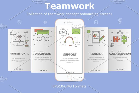 Mobile App Screens Team Work