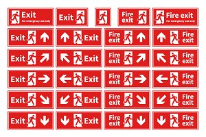 Emergency fire exit red signs