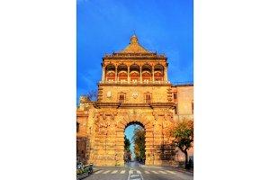 Porta Nuova, a monumental city gate of Palermo. Sicily, Italy