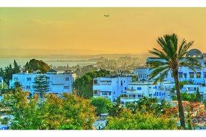 View of Sidi Bou Said, a town near Tunis, Tunisia