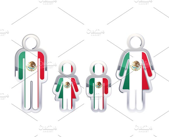 People Icon With Mexico Flag