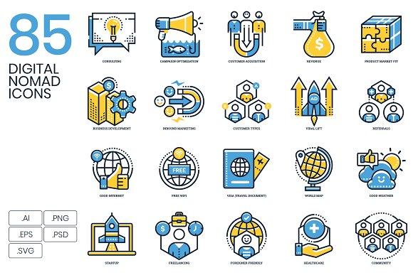 85 Digital Nomad Icons