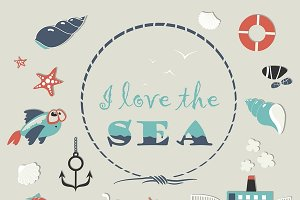 Cute sea objects collection